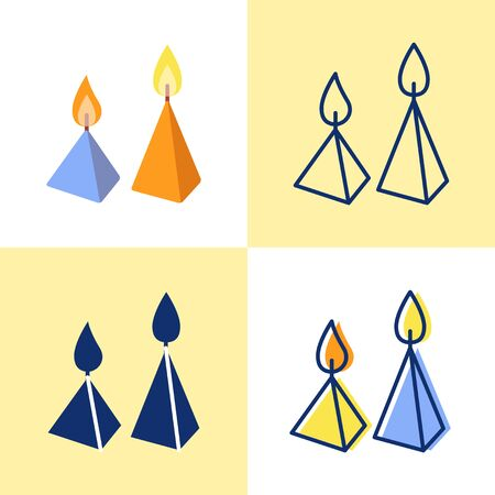 Burning cone candles icon set in flat and line style