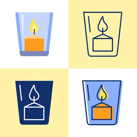 Votive candle in a glass icon set in flat and line style. Bright light source with burning flame. Vector illustration.