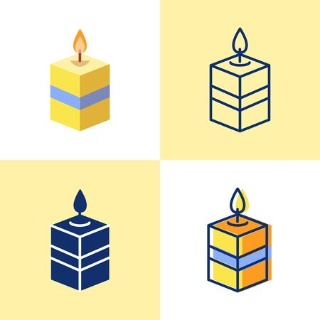 Square candle icon set in flat and line style