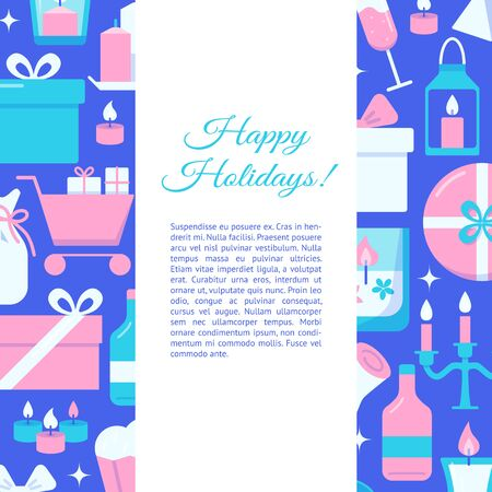 Happy holidays concept banner in flat style