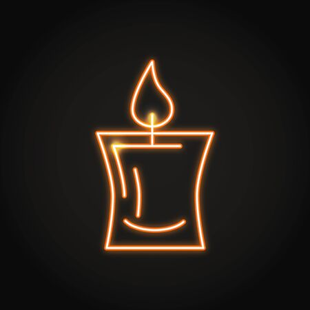 Decorative candle icon in neon line style