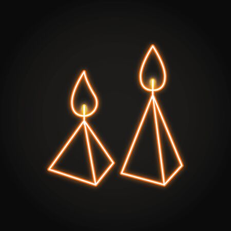 Burning cone candles icon in neon line style
