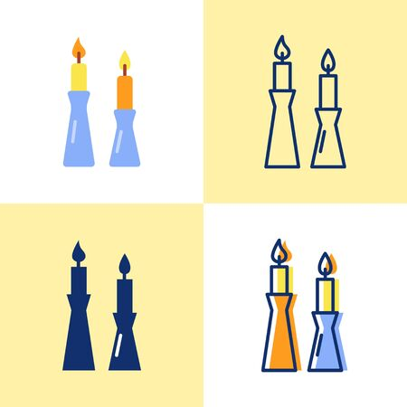Burning candles in candlestick icon set in flat and line style