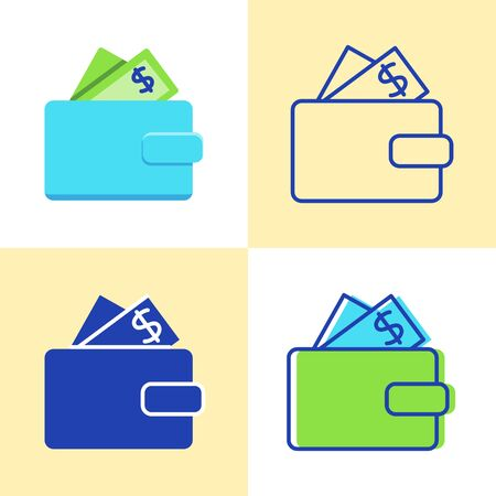 Wallet with money icon set in flat and line style Иллюстрация