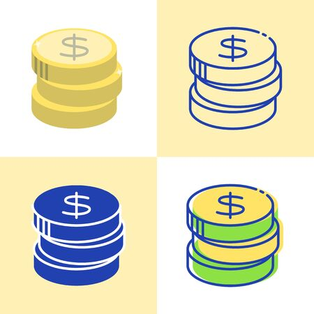 Stack of coins icon set in flat and line style.