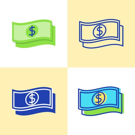 Dollar banknote icon set in flat and line style. Finance and money symbol. Vector illustration. Archivio Fotografico - 130448101