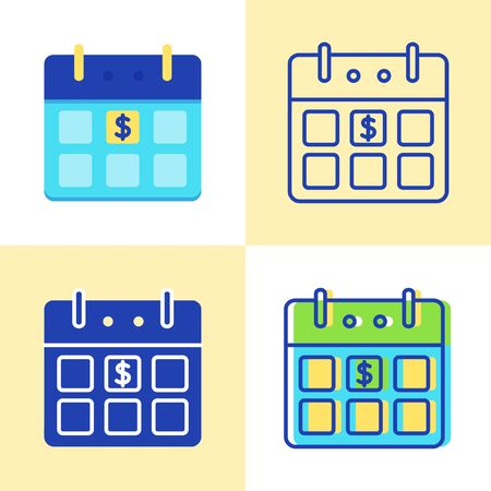 Calendar with dollar sign icon set in flat and line style Ilustração