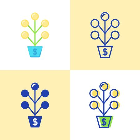 Money tree icon set in flat and line style