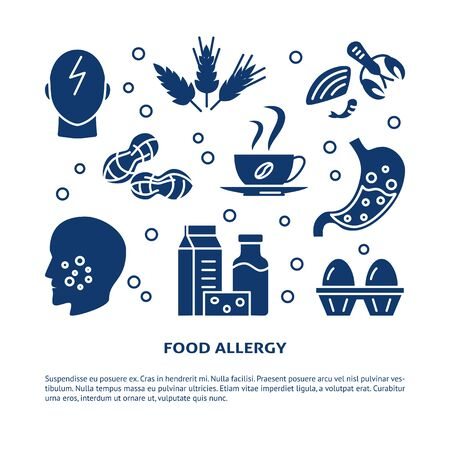 Food allergy banner template with place for text Çizim