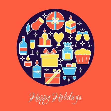 Happy holidays round concept banner in colored line style