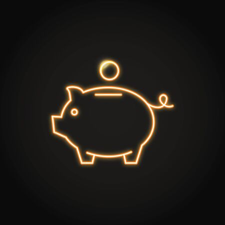 Piggy bank icon in neon line style. Money saving symbol. Moneybox emblem. Vector illustration. 向量圖像