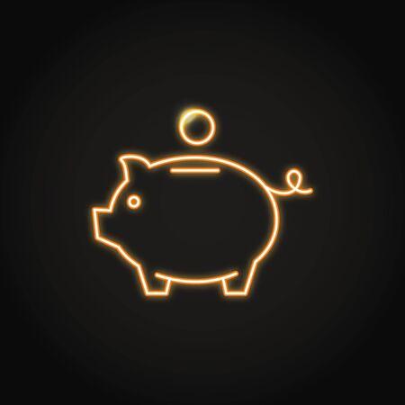 Piggy bank icon in neon line style. Money saving symbol. Moneybox emblem. Vector illustration. Illustration