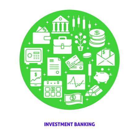 Investment banking round concept in flat style with text Ilustração