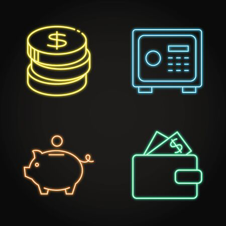 Money icon set in neon line style. Stack of coins, deposit box, piggy bank, wallet with banknotes. Vector illustration.