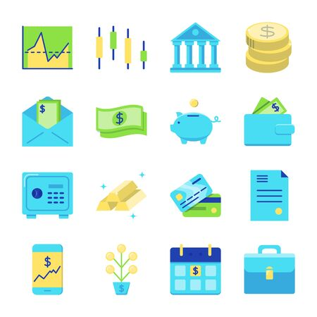 Finance and money icon set in flat style