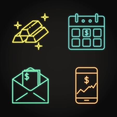 Finance icon set in neon line style