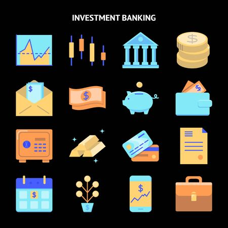 Finance and money icon set in flat style. Banking and investment activities symbols collection. Vector illustration.  イラスト・ベクター素材