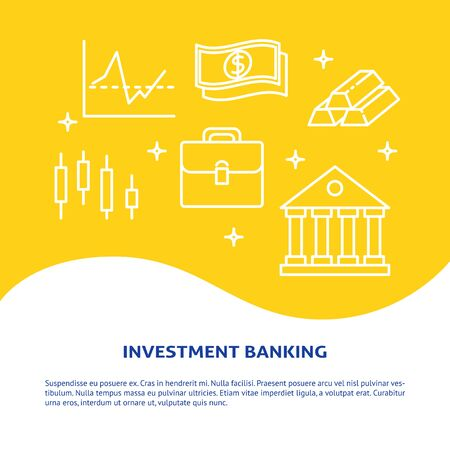 Investment banking banner in line style with text