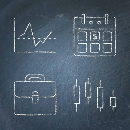 Chalkboard investment icon set in line style Illustration