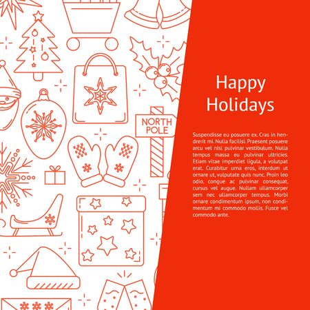 Happy holidays banner template in line style