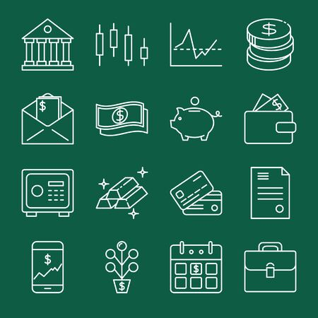 Finance and money icon collection in line style Vettoriali