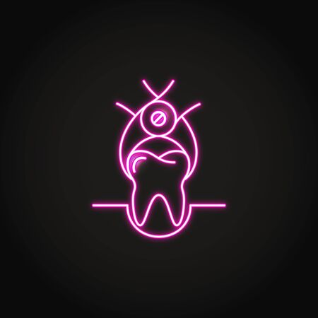 Neon tooth extraction icon in line style