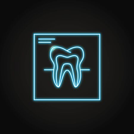 Neon tooth x-ray icon in line style