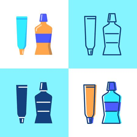 Toothpaste and mouth wash icon set in flat and line style. Teeth hygiene and care symbol. Stomatology vector illustration. Illustration