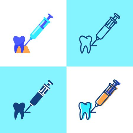 Tooth anesthesia icon set in flat and line style 向量圖像