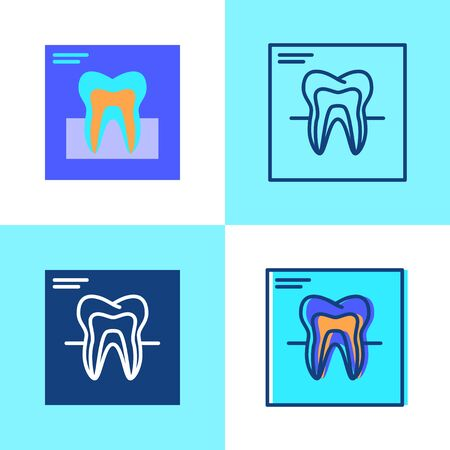 Tooth x-ray icon set in flat and line style