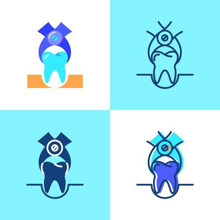 Tooth extraction icon set in flat and line style