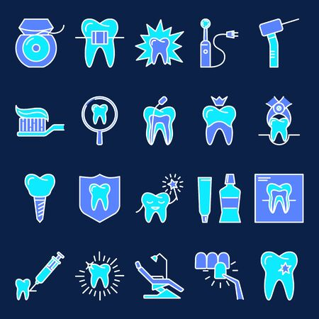 Stomatology and orthodontics icon set in colored line style on dark background. Dental care and treatment symbols. Vector illustration.