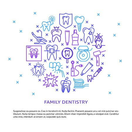 Family dentistry round concept banner in line style. Teeth care and stomatology clinic symbols. Dental medicine background with place for text. Vector illustration.