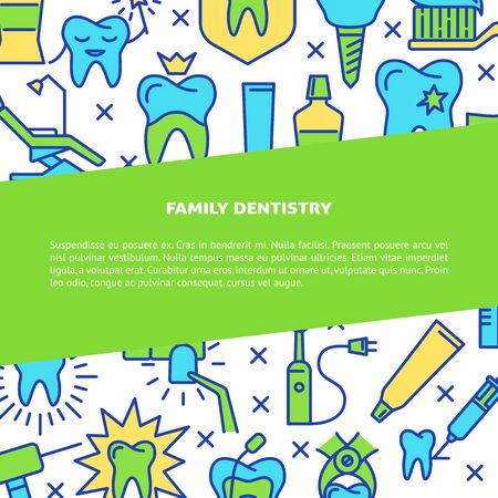 Family dentistry clinic banner template in line style. Stomatology and teeth care symbols. Dental medicine background with place for text. Vector illustration.