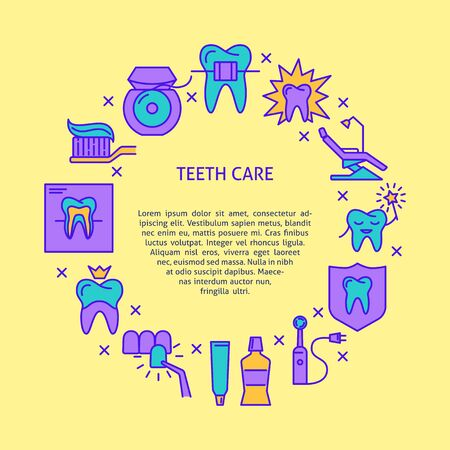Teeth care round concept poster in colored line style
