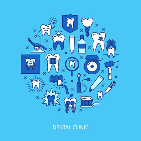 Dental clinic round concept banner in colored line style Ilustração