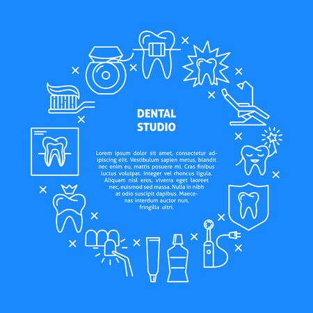 Dental studio round concept banner in thin line style Stock Illustratie