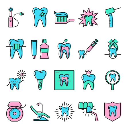 Stomatology icon set in line style with color