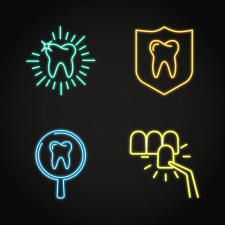 Teeth whitening and protection icon set in neon line style