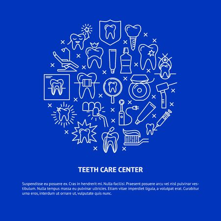 Teeth care center round concept banner in thin line style
