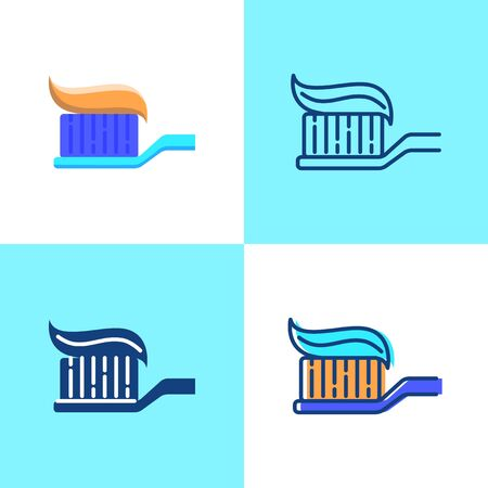 Toothbrush with toothpaste icon set in flat and line style