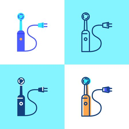 Electric toothbrush icon set in flat and line style