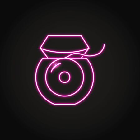 Neon dental floss icon in line style Çizim