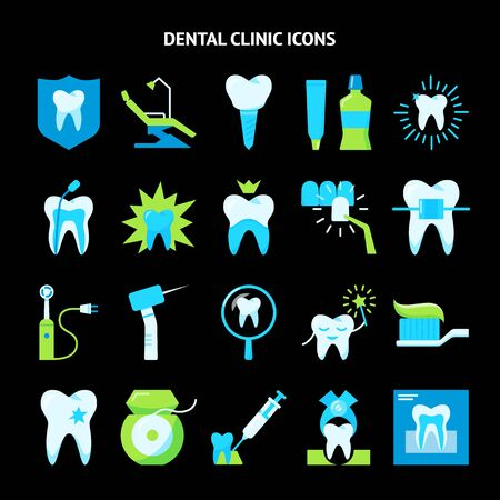 Stomatology and teeth care icon set in flat style