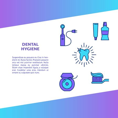 Dental hygiene banner template in colored line style