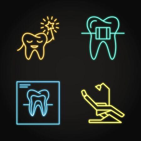 Dental clinic icon set in neon line style Çizim