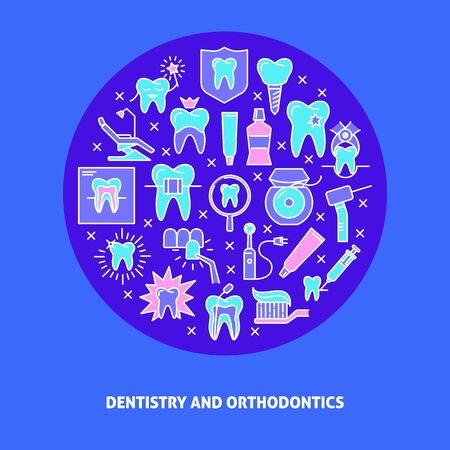 Dentistry and orthodontics round concept banner in colored line style. Teeth care and stomatology symbols. Medical background with place for text. Vector illustration.