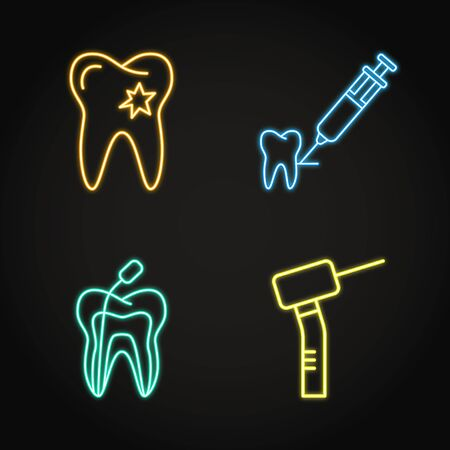 Dental care icon set in neon line style. Caries damaged enamel, root canal treatment and other symbols. Stomatology emblem. Vector illustration.