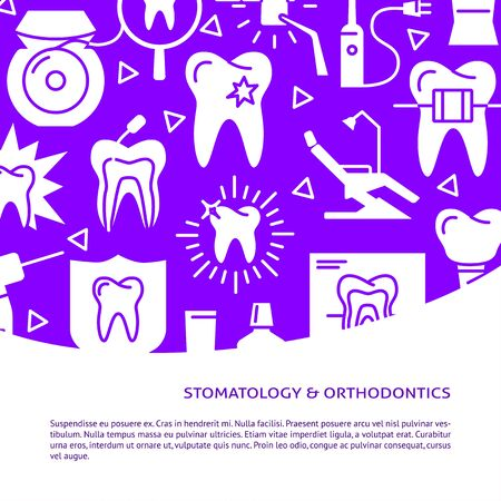 Stomatology and orthodontics banner template in flat style