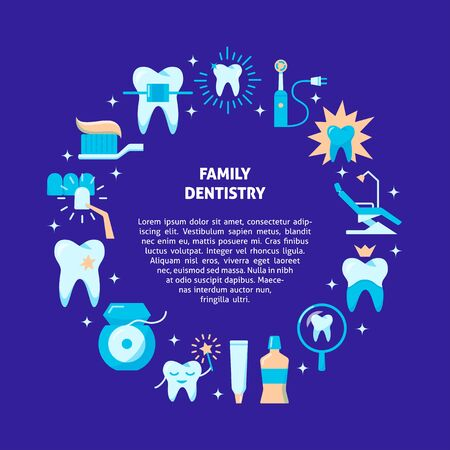 Family dentistry round concept banner in flat style